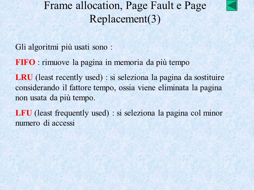 Frame allocation, Page Fault e Page Replacement(3)