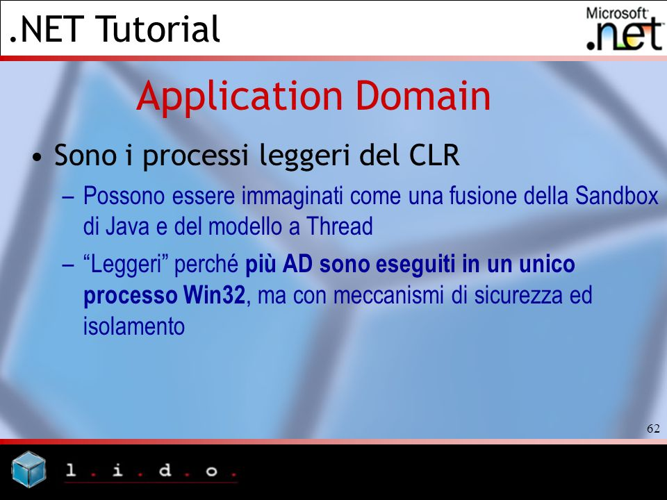 Application Domain Sono i processi leggeri del CLR
