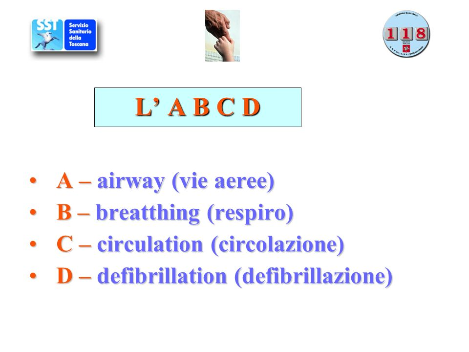L' A B C D A – airway (vie aeree) B – breatthing (respiro)