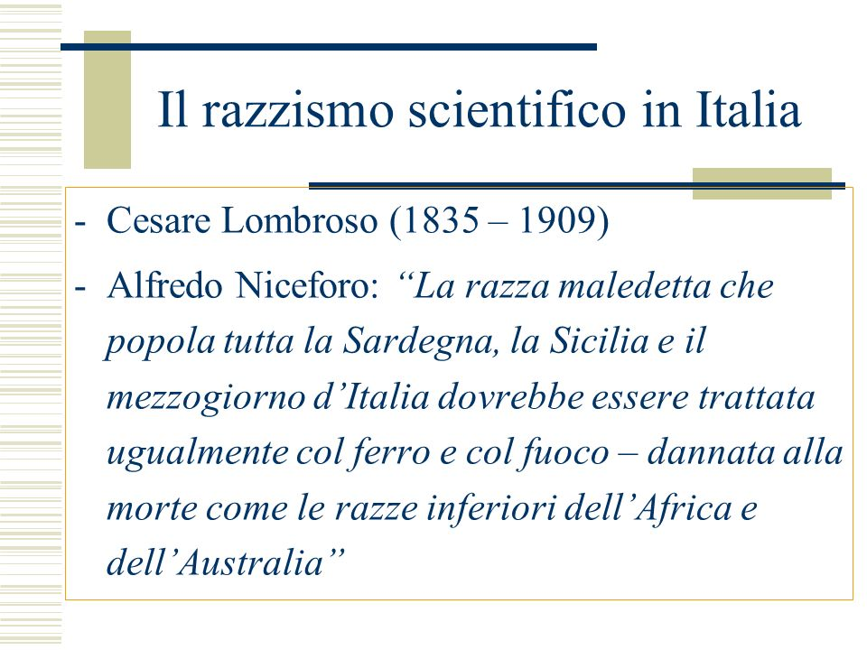 Il razzismo scientifico in Italia