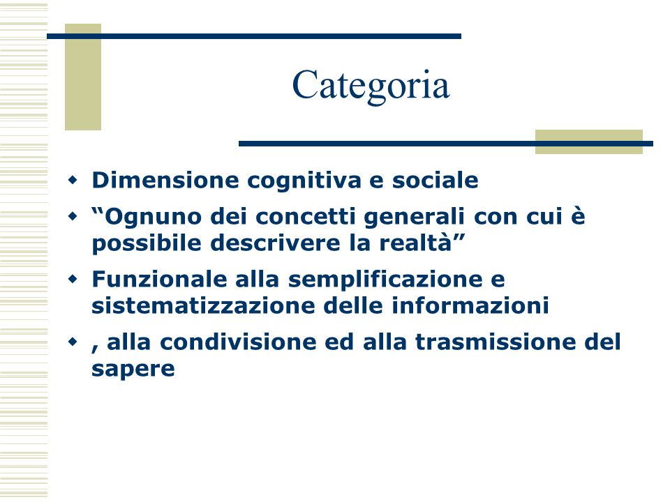 Categoria Dimensione cognitiva e sociale