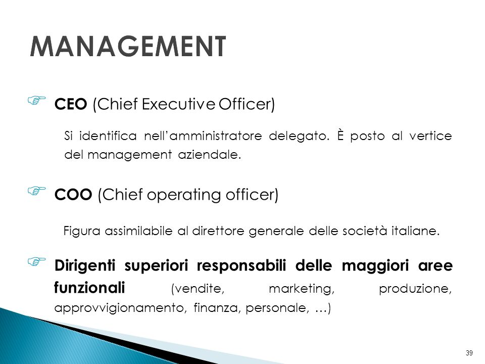 MANAGEMENT CEO (Chief Executive Officer) COO (Chief operating officer)