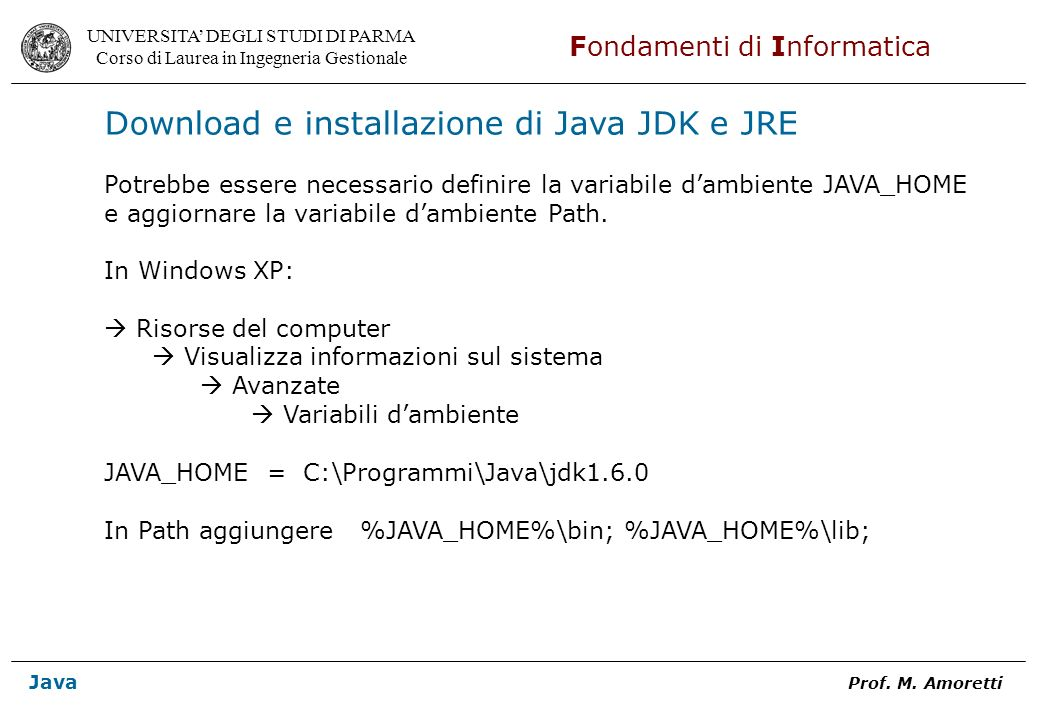 Download e installazione di Java JDK e JRE