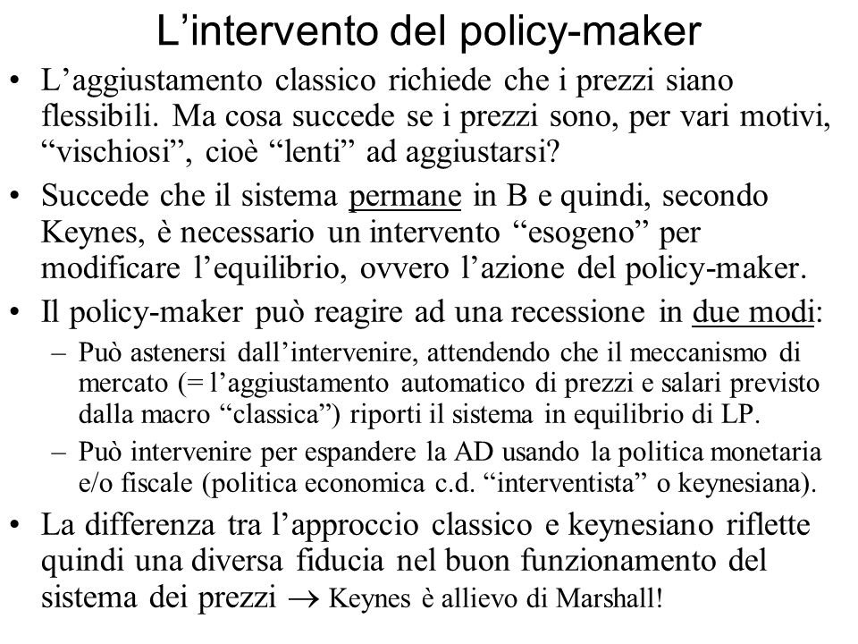 L'intervento del policy-maker