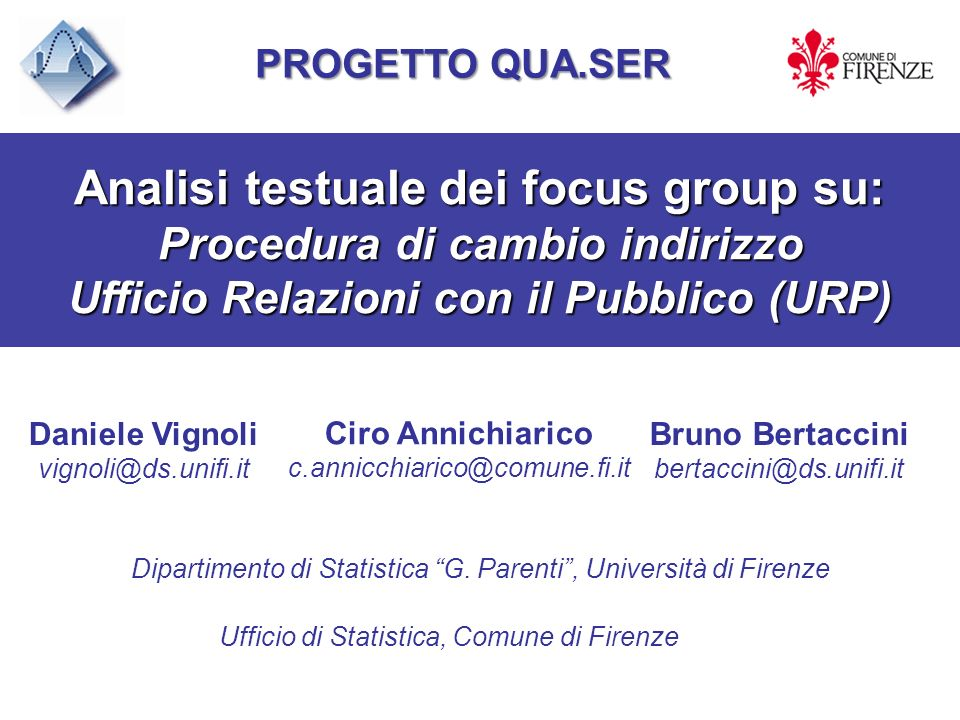 Analisi testuale dei focus group su:
