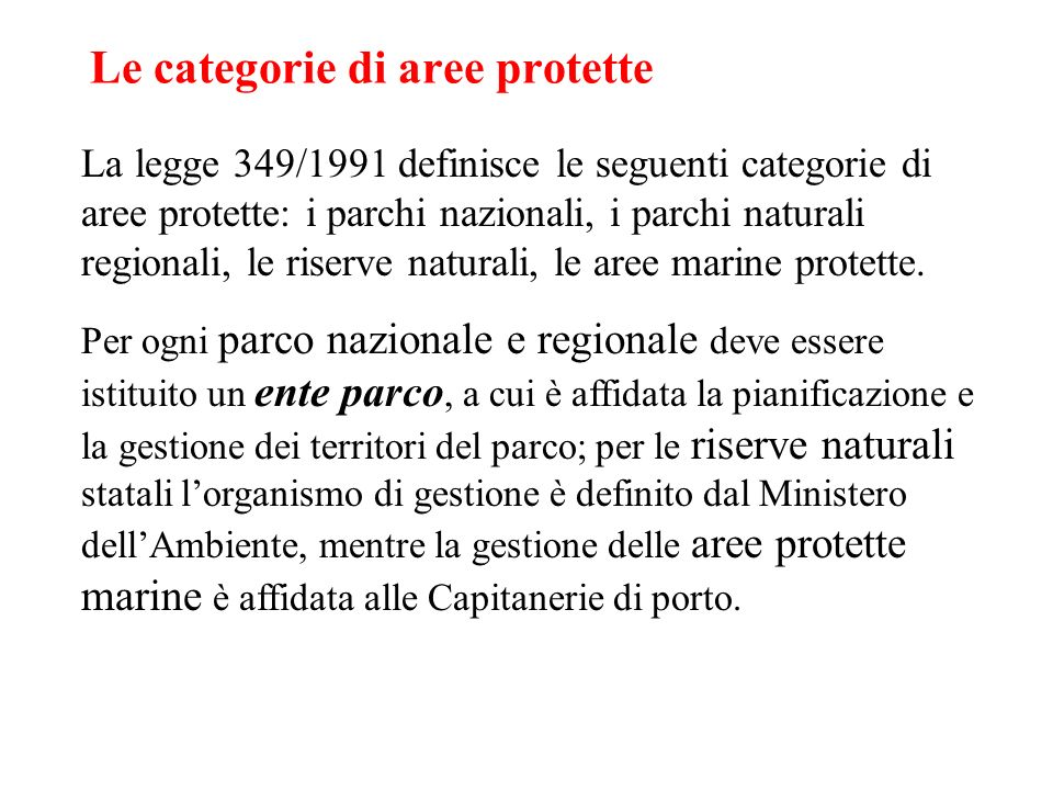 Le categorie di aree protette