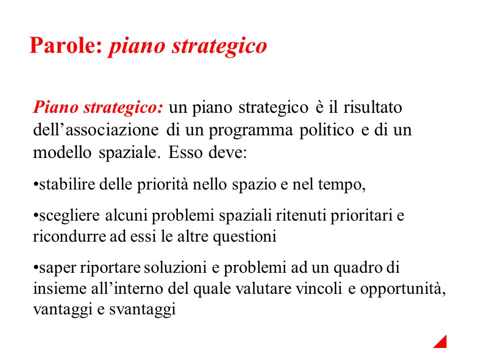 Parole: piano strategico