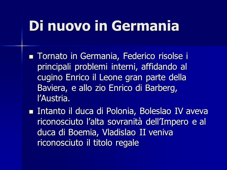Di nuovo in Germania
