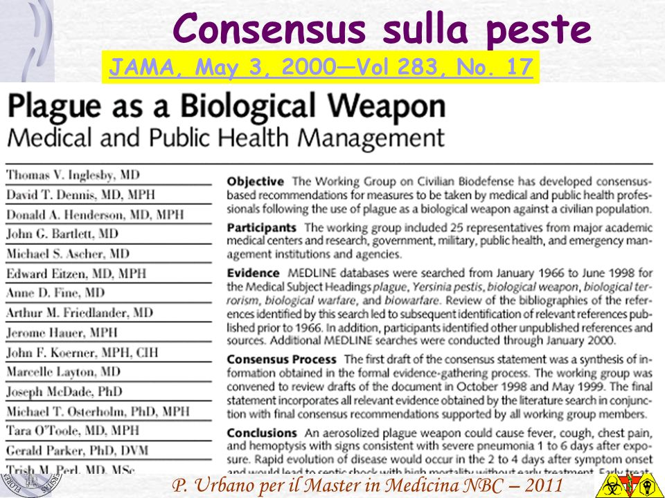 Consensus sulla peste JAMA, May 3, 2000—Vol 283, No. 17