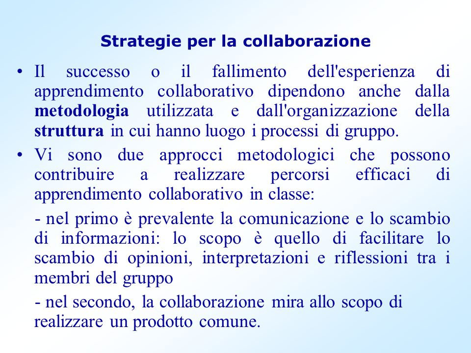 Strategie per la collaborazione