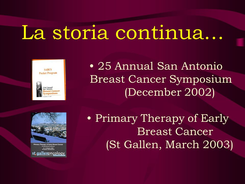 La storia continua… 25 Annual San Antonio Breast Cancer Symposium