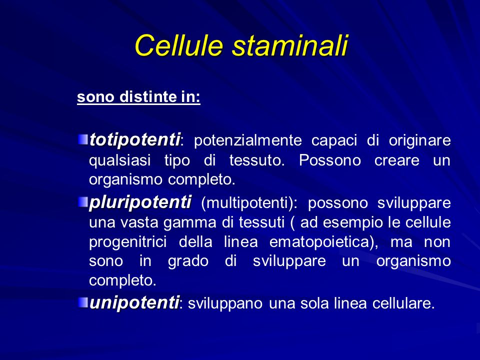 Cellule staminali sono distinte in: