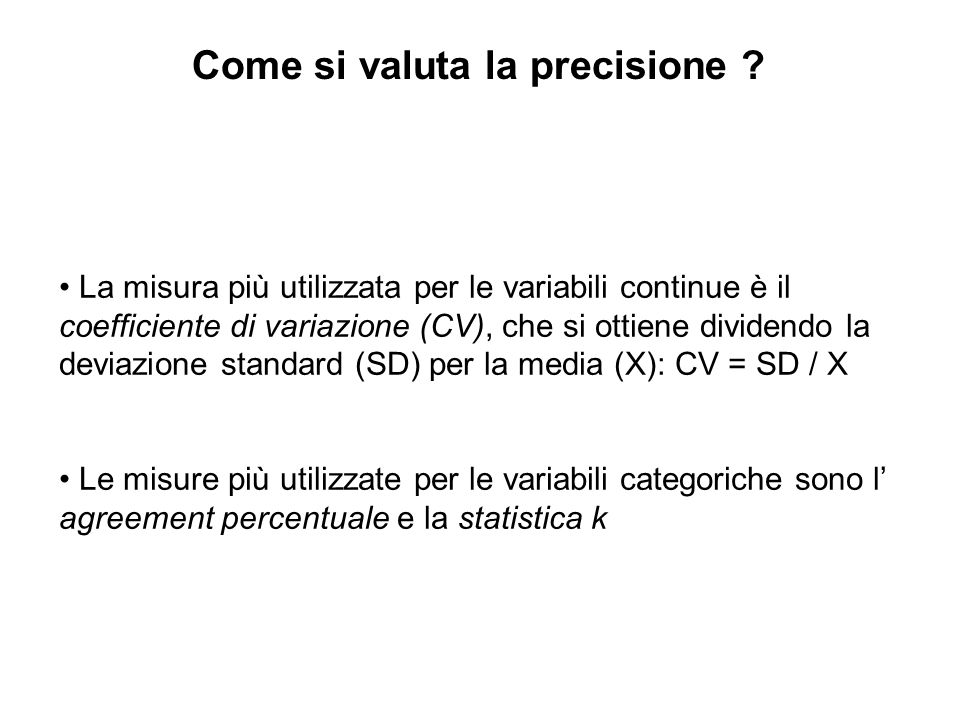 Come si valuta la precisione