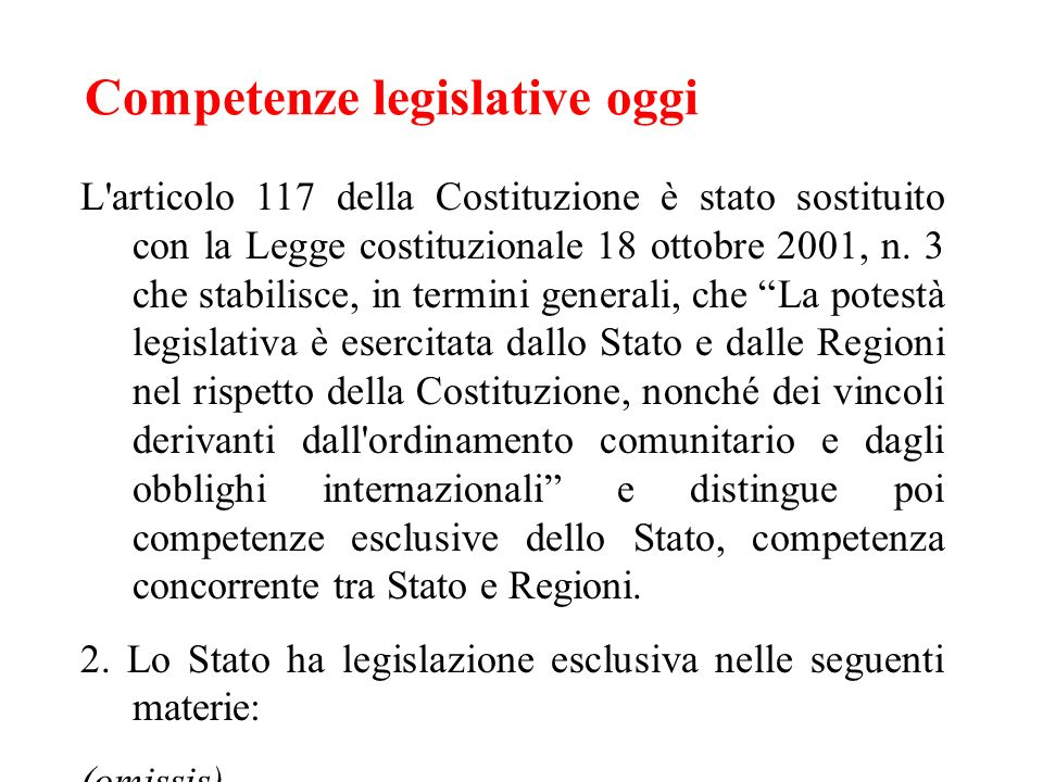 Competenze legislative oggi