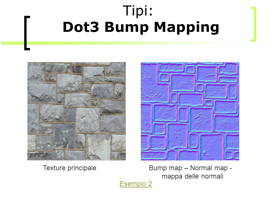 Tipi: Dot3 Bump Mapping Texture principale Bump map – Normal map -