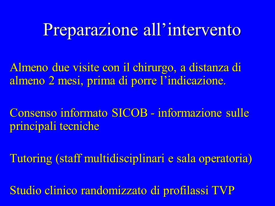 Preparazione all'intervento