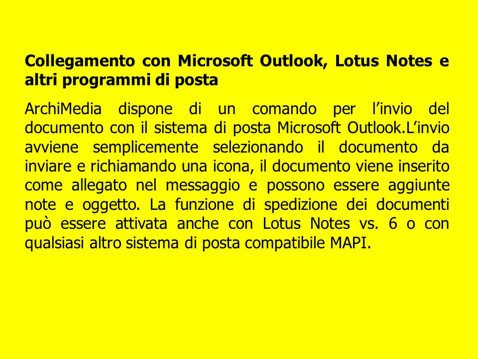 Collegamento con Microsoft Outlook, Lotus Notes e altri programmi di posta