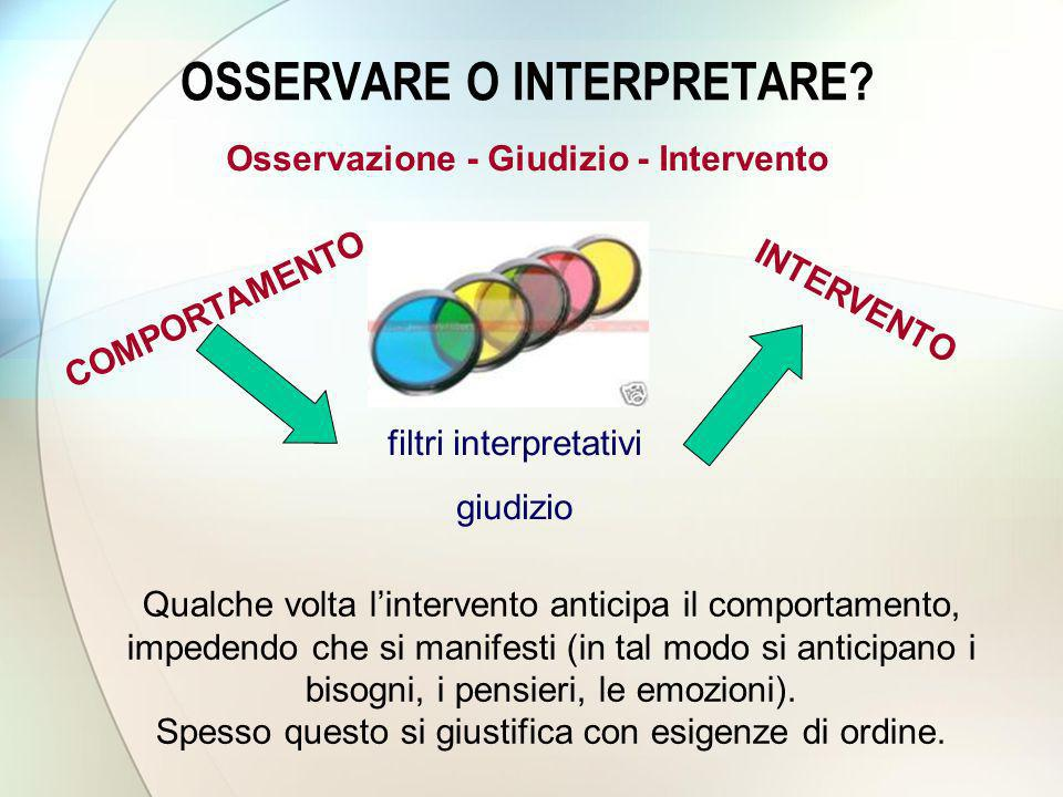 OSSERVARE O INTERPRETARE