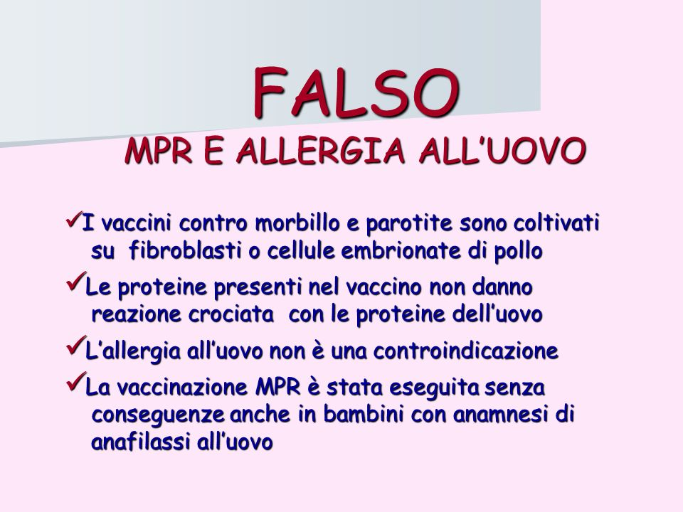 MPR E ALLERGIA ALL'UOVO