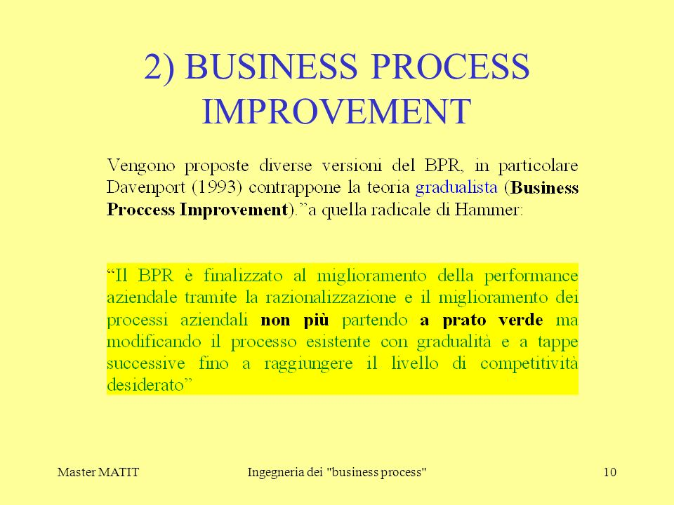 2) BUSINESS PROCESS IMPROVEMENT