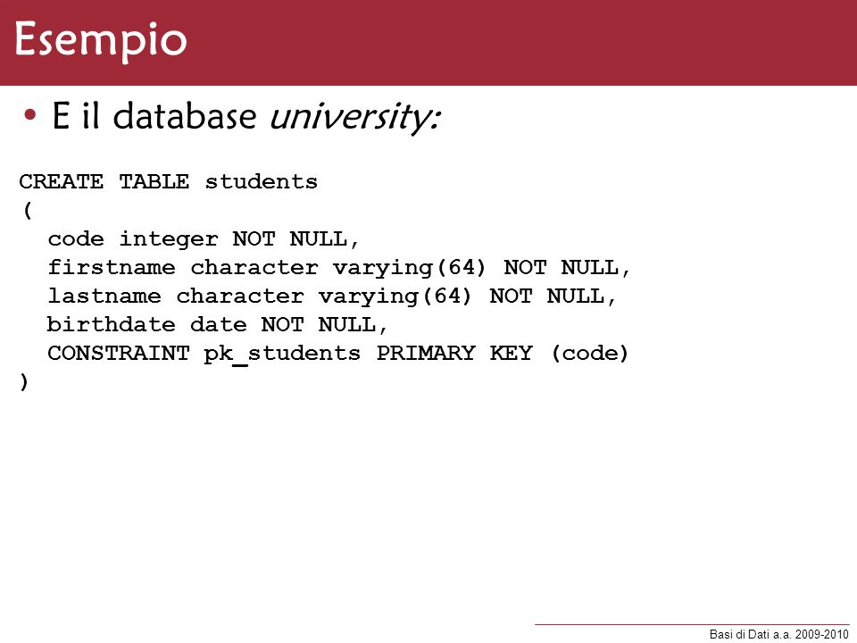 Esempio E il database university: CREATE TABLE students (