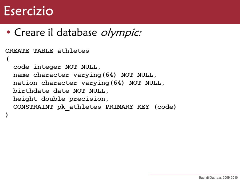 Esercizio Creare il database olympic: CREATE TABLE athletes (