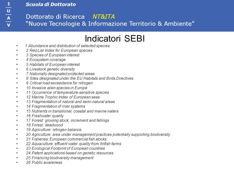 Indicatori SEBI 1 Abundance and distribution of selected species