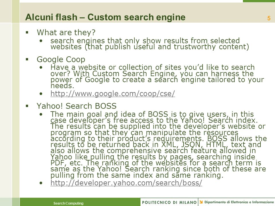 Alcuni flash – Custom search engine