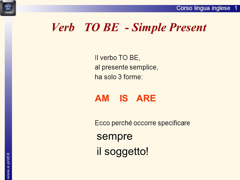 Verb TO BE - Simple Present