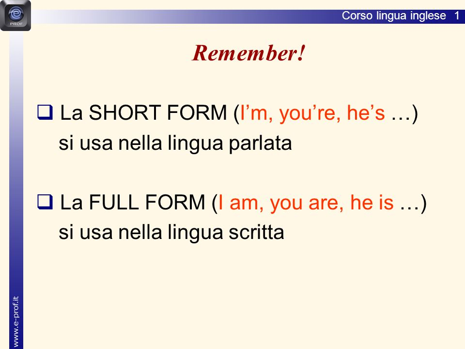 Remember! La SHORT FORM (I'm, you're, he's …)