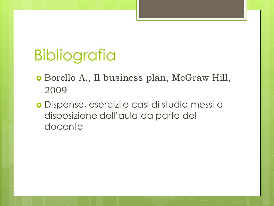 borello a. il business plan mcgraw hill 2009