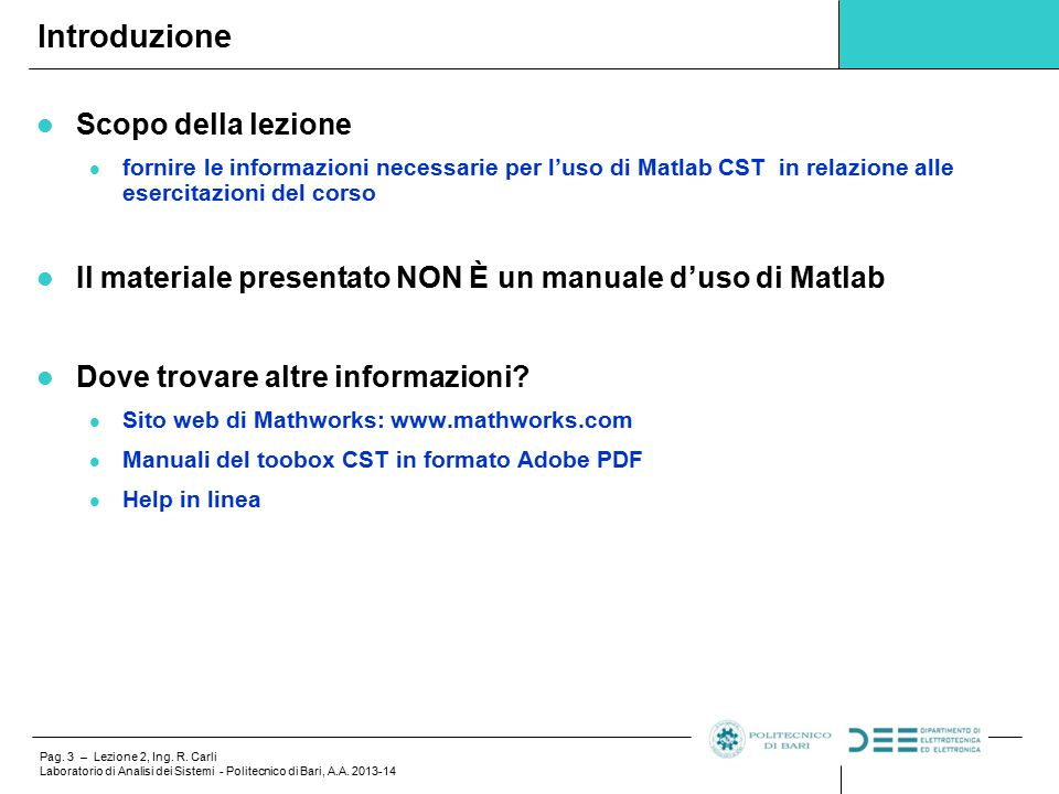 Lezione 2 Matlab: Control System Toolbox - ppt scaricare