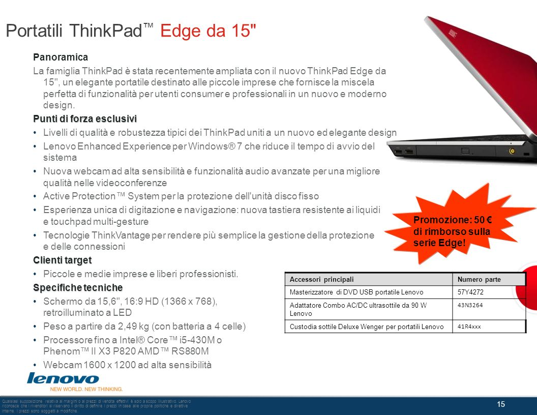 Portatili ThinkPad™ Edge da 15