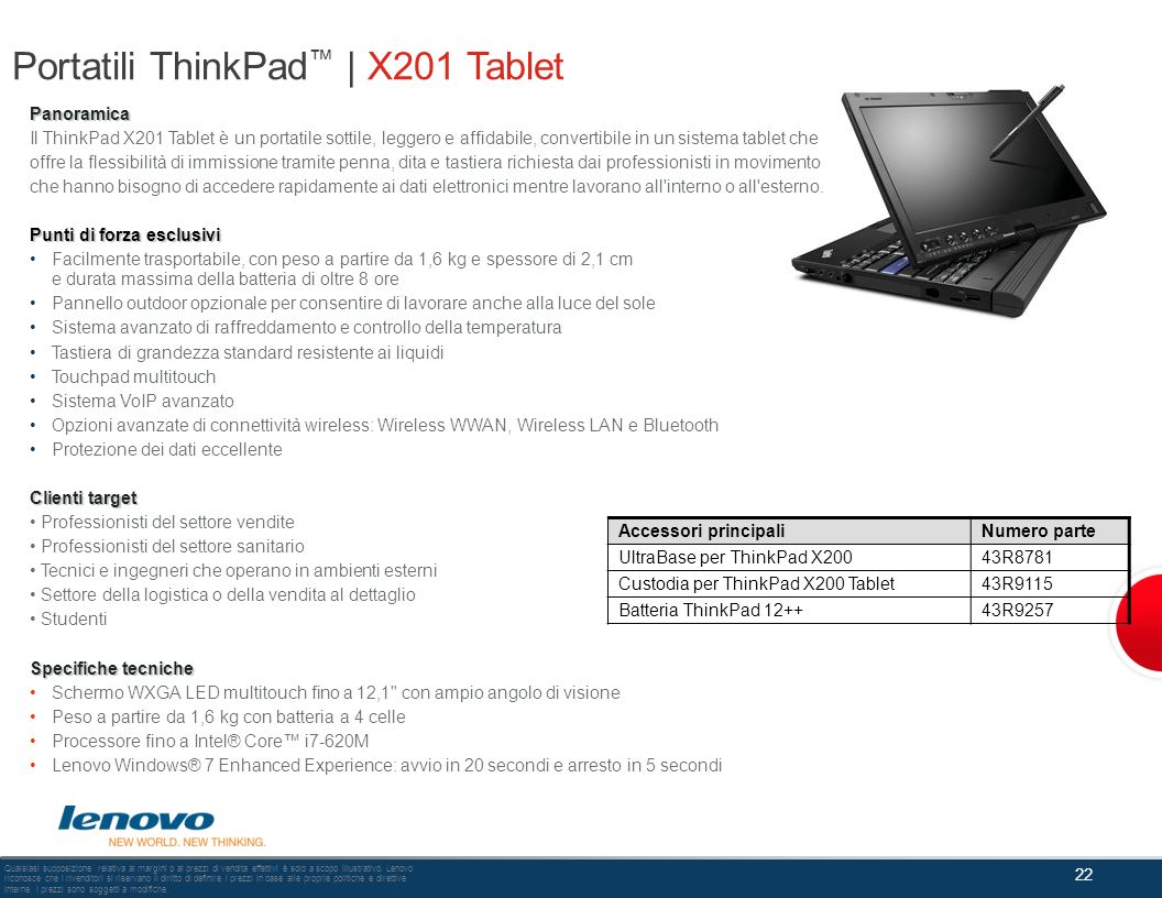 Portatili ThinkPad™ | X201 Tablet