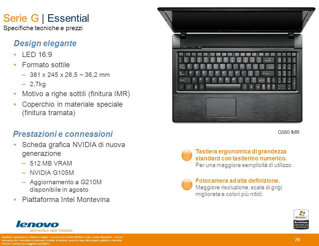 Serie G | Essential Specifiche tecniche e prezzi