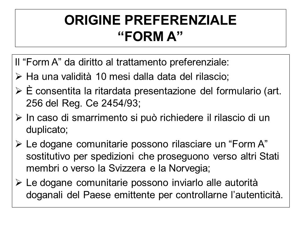 ORIGINE PREFERENZIALE FORM A