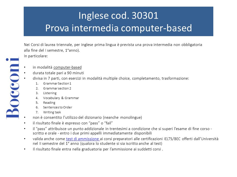 Inglese Cod Prova Intermedia Computer Based Ppt Scaricare