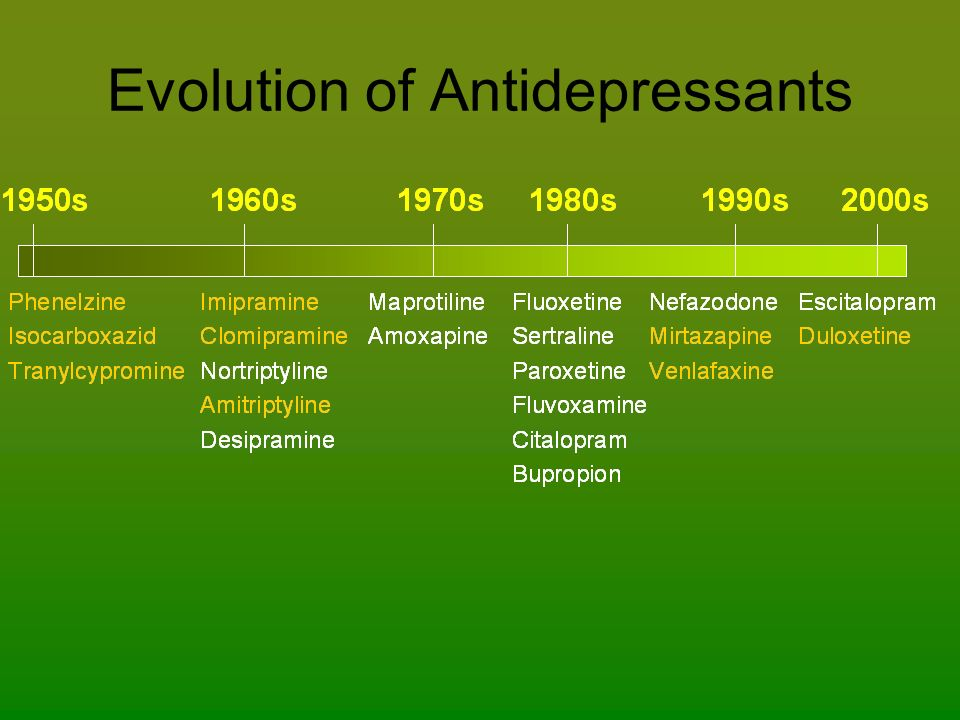 Evolution of Antidepressants