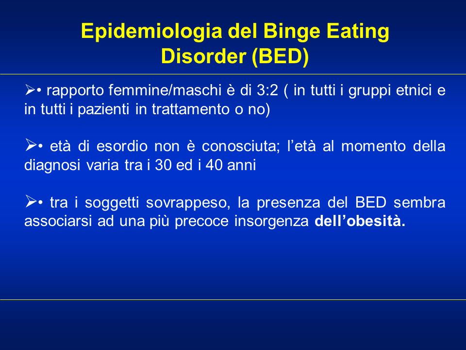 Epidemiologia del Binge Eating Disorder (BED)