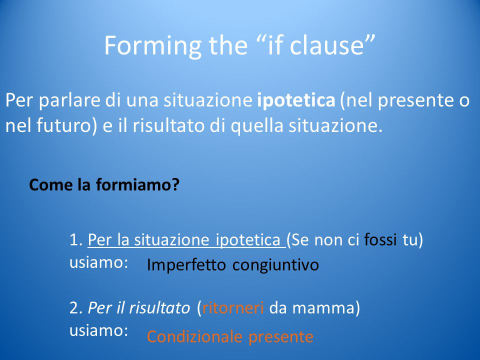 Forming the if clause