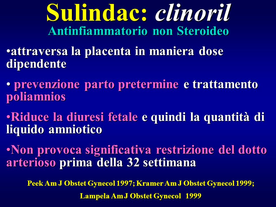 Sulindac: clinoril Antinfiammatorio non Steroideo