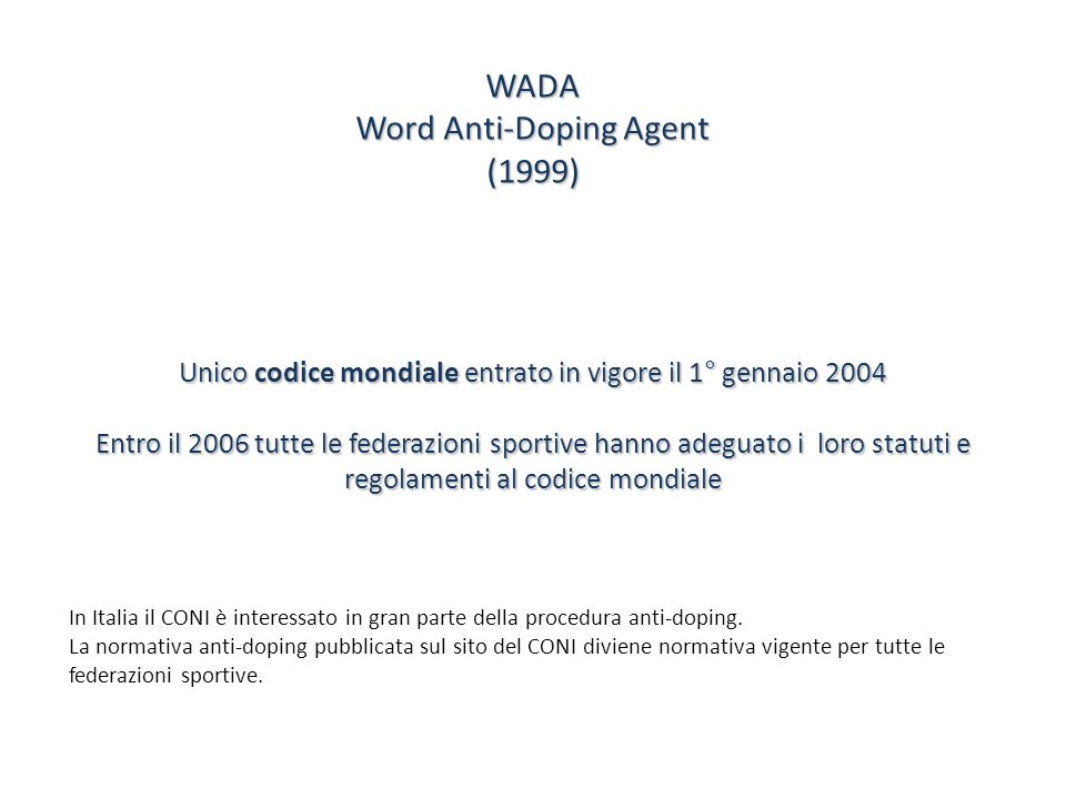 Word Anti-Doping Agent (1999)