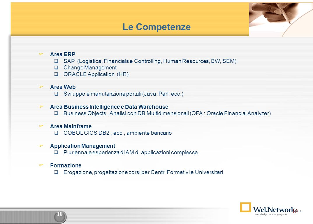 Le Competenze Area ERP. SAP (Logistica, Financials e Controlling, Human Resources, BW, SEM) Change Management.