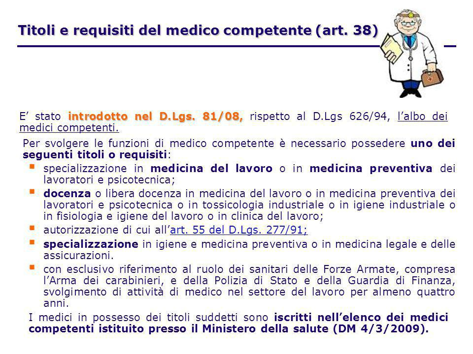 Titoli e requisiti del medico competente (art. 38)