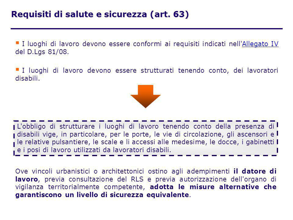 Requisiti di salute e sicurezza (art. 63)