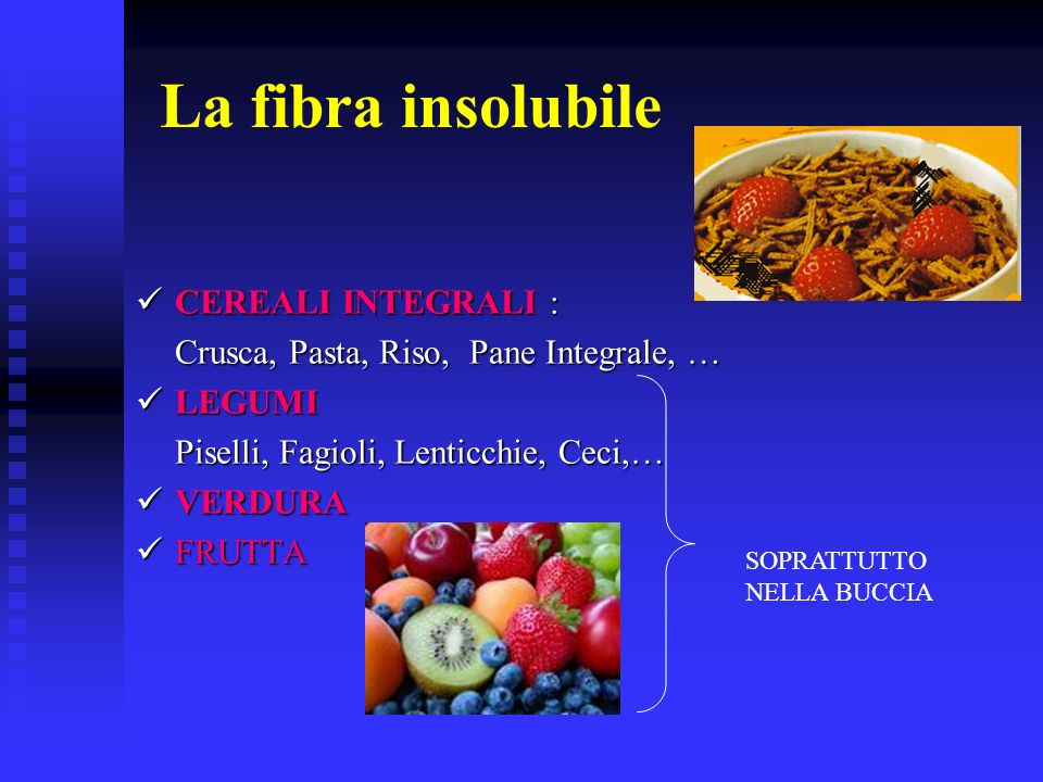 La fibra insolubile CEREALI INTEGRALI :
