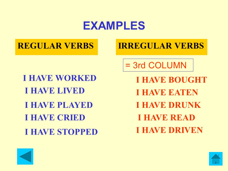 EXAMPLES REGULAR VERBS IRREGULAR VERBS = 3rd COLUMN I HAVE WORKED