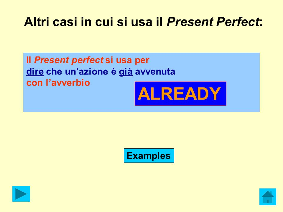 ALREADY Altri casi in cui si usa il Present Perfect: