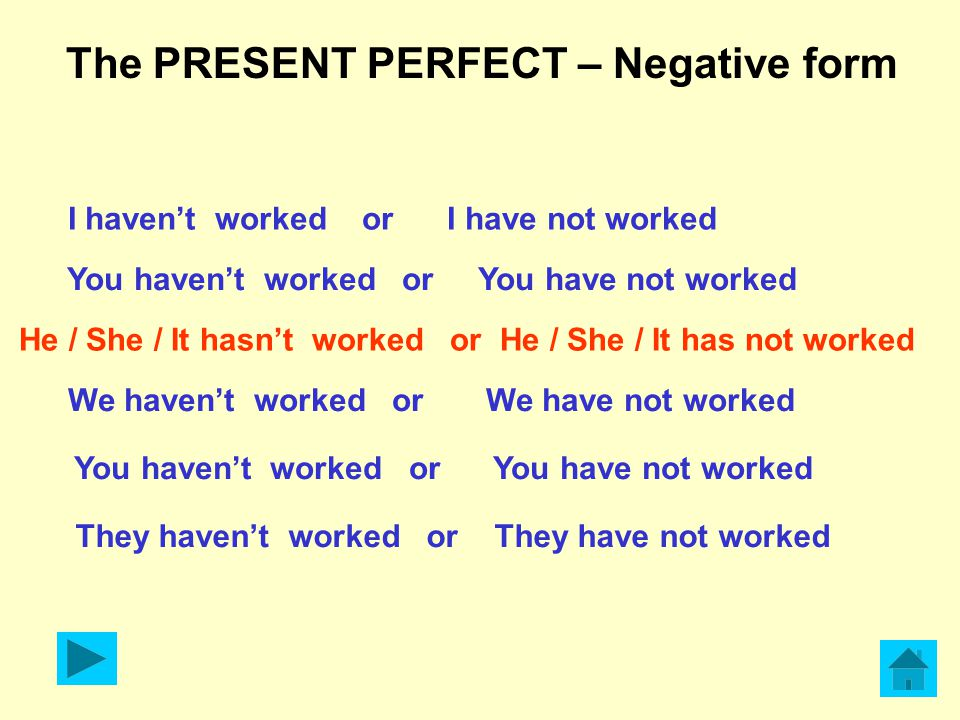 The PRESENT PERFECT – Negative form