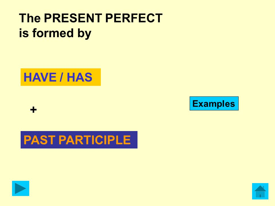 The PRESENT PERFECT is formed by HAVE / HAS Examples + PAST PARTICIPLE